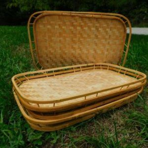 LOT of 4 Bamboo Woven Wicker Tiki Serving Lap Tray